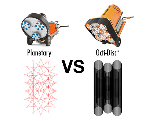 Planetary vs Octi-Disc™ Scratch Pattern Density Comparison