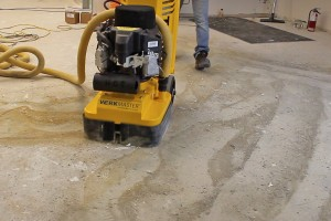 Grinding off carpet glue
