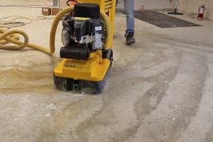 Grinding off carpet glue