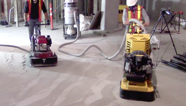 Grinding rained out pitted concrete floor