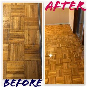 Parquette Floor Before and After
